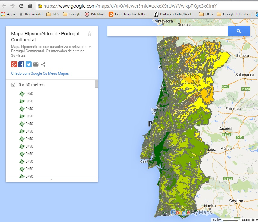 mapa hipsométrico de portugal Mapa Hipsométrico de Portugal Continental agora no Google Maps mapa hipsométrico de portugal